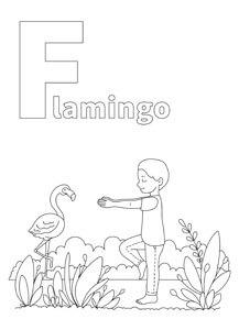 YOGA-ALPHABET Malbild Flamingo