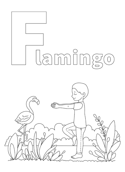 YOGA-ALPHABET Malbild Flamingo