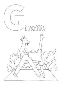 YOGA-ALPHABET Malbild Giraffe