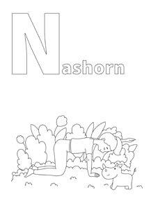YOGA-ALPHABET Malbild Nashorn