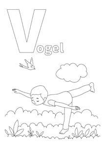 YOGA-ALPHABET Malbild Vogel